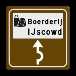 Routebord BW101 (bruin) - 1 picto en tekst met aanpasbare pijl BEW101, IJs, Boerderij, Ambachtelijk