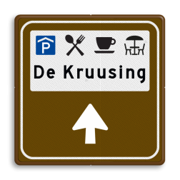 Routebord BW101 (bruin) - 4 picto's en tekst met aanpasbare pijl BEW101, Café, zitten, plein,