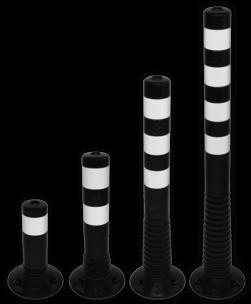 Kunststof flexibele afzetpaal zwart wit Ø80mm - overrijdbaar kunststof, flex, flexpost, afzet, afzetpaal, paal, veerpaal, flexibel, overrijdbaar, verend