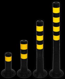 Kunststof flexibele afzetpaal zwart geel Ø80mm - overrijdbaar kunststof, flex, flexpost, afzet, afzetpaal, paal, veerpaal, flexibel, overrijdbaar, verend