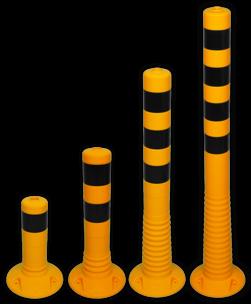 Kunststof flexibele afzetpaal geel zwart Ø80mm - overrijdbaar kunststof, flex, flexpost, afzet, afzetpaal, paal, veerpaal, flexibel, overrijdbaar, verend