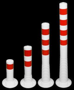 Kunststof flexibele afzetpaal wit rood Ø80mm - overrijdbaar kunststof, flex, flexpost, afzet, afzetpaal, paal, veerpaal, flexibel, overrijdbaar, verend