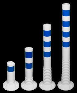 Kunststof flexibele afzetpaal wit blauw Ø80mm - overrijdbaar kunststof, flex, flexpost, afzet, afzetpaal, paal, veerpaal, flexibel, overrijdbaar, verend