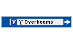 Verwijsbord object (blauw) - met 2 pictogram, 1 regel tekst en pijl ANWB, ANWB-bord, verwijsborden, Bewegwijzering, strokenbord, verwijsbord, wegwijsbord, bewegwijzeringsbord, verwijzingsbord