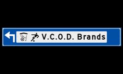 Verwijsbord object (blauw) - met 2 pictogrammen, 1 regel tekst en pijl ANWB, ANWB-bord, verwijsborden, Bewegwijzering, strokenbord, verwijsbord, wegwijsbord, bewegwijzeringsbord, verwijzingsbord