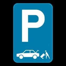 Parkeerbord Parkeerbord E9 aangevuld met het symbool laden en lossen van een auto Parkeerbord E9 laden en losen auto