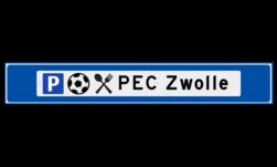 Verwijsbord object (blauw) - met 3 pictogrammen, 1 regel tekst en pijl ANWB, ANWB-bord, verwijsborden, Bewegwijzering, strokenbord, verwijsbord, wegwijsbord, bewegwijzeringsbord, verwijzingsbord