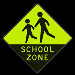 Verkeersbord Spelende kinderen ~FLUOR achtergrond Verkeersbord - Schoolzone met extra opvallende Geel-Groen FLUOR reflex