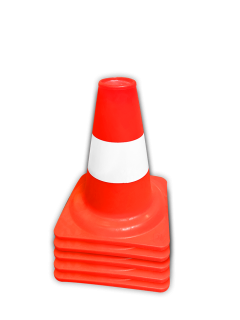 Afzetkegel/pylon 200mm - set van 5 stuks - oranje/wit pion, pionnen, kegels, pilon, oranje, hoedje, afzet, verkeer, kegel, pylon