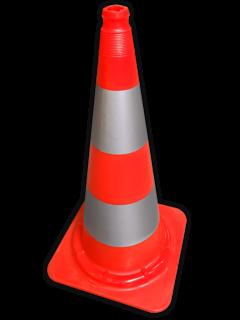 Afzetkegel 750mm met grijpnok - oranje/wit reflecterend pion, pionnen, kegels, pilon, oranje, hoedje, afzetkegel, verkeerskegel, pylon