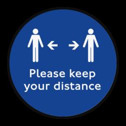 Vloersticker - Keep your distance vloersticker, handen, wassen, verplicht