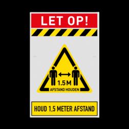 Veiligheidsbord 1,5 meter afstand houden verplicht afstand, houden, bord, meter, veiligheid, omgangregels, veiligheid, gezondheid, risico's, virus