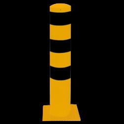Rampaal Ø152x1000mm met voetplaat, verzinkt of geel/zwart Stalen paal, anti kraak, aanrijbeveiliging, Rampaal, Afzetpaal, Ramkraak, Magazijn, Inrichting, Juwelier, Bank, Ramzuil, veilig, ram, Menhir, Beveiliging