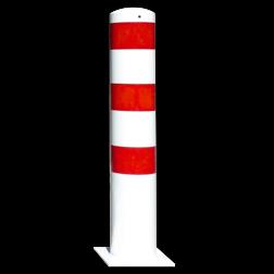 Rampaal Ø152x1000mm met voetplaat - wit/rood of verzinkt Stalen paal, anti kraak, aanrijbeveiliging, Rampaal, Afzetpaal, Ramkraak, Magazijn, Inrichting, Juwelier, Bank, Ramzuil, veilig, ram, Menhir, Beveiliging