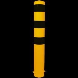 Rampaal Ø152x2000mm met grondmontage, verzinkt of geel/zwart Stalen paal, anti kraak, aanrijbeveiliging, Rampaal, Afzetpaal, Ramkraak, Magazijn, Inrichting, Juwelier, Bank, Ramzuil, veilig, ram, Menhir, Beveiliging