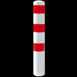 Rampaal Ø152x1500mm met grondmontage - wit/rood of verzinkt Stalen paal, anti kraak, aanrijbeveiliging, Rampaal, Afzetpaal, Ramkraak, Magazijn, Inrichting, Juwelier, Bank, Ramzuil, veilig, ram, Menhir, Beveiliging