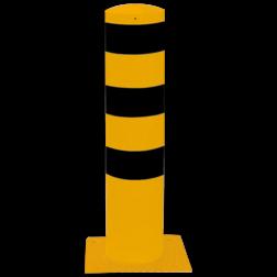 Rampaal Ø273x1500mm met voetplaat, verzinkt of geel/zwart Stalen paal, anti kraak, aanrijbeveiliging, Rampaal, Afzetpaal, Ramkraak, Magazijn, Inrichting, Juwelier, Bank, Ramzuil, veilig, ram, Menhir, Beveiliging