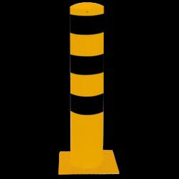 Rampaal Ø193x1000mm met voetplaat, verzinkt of geel/zwart Stalen paal, anti kraak, aanrijbeveiliging, Rampaal, Afzetpaal, Ramkraak, Magazijn, Inrichting, Juwelier, Bank, Ramzuil, veilig, ram, Menhir, Beveiliging