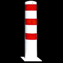 Rampaal Ø193x1000mm met voetplaat, verzinkt of wit/rood Stalen paal, anti kraak, aanrijbeveiliging, Rampaal, Afzetpaal, Ramkraak, Magazijn, Inrichting, Juwelier, Bank, Ramzuil, veilig, ram, Menhir, Beveiliging