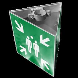 Verzamelplaats bordenset, 3-HOEK met montagebeugels , vluchtroutebord, reddingsmiddelbord, evacuatie, evacuatiebord, veiligheidspictogram, veiligheidsbord, Nooduitgang pictogrammen, Vluchtrouteaanduiding, Verzamelplaats pictogram, Reddingspictogram, nooduitgang symbool, teken, icoon, symbolen, reddingsborden, bhv bord