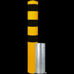Rampaal Ø152x1500mm wegneembaar, verzinkt of geel/zwart Stalen paal, anti kraak, aanrijbeveiliging, Rampaal, Afzetpaal, Ramkraak, Magazijn, Inrichting, Juwelier, Bank, Ramzuil, veilig, ram, Menhir, Beveiliging