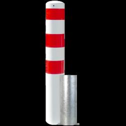 Rampaal Ø152x2000mm wegneembaar, wit/rood of verzink Stalen paal, anti kraak, aanrijbeveiliging, Rampaal, Afzetpaal, Ramkraak, Magazijn, Inrichting, Juwelier, Bank, Ramzuil, veilig, ram, Menhir, Beveiliging