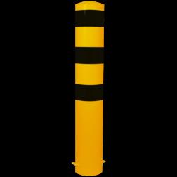 Rampaal Ø193x1500mm met grondmontage, geel/zwart of verzinkt Stalen paal, anti kraak, aanrijbeveiliging, Rampaal, Afzetpaal, Ramkraak, Magazijn, Inrichting, Juwelier, Bank, Ramzuil, veilig, ram, Menhir, Beveiliging