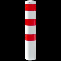Rampaal Ø273x1500mm met grondmontage, verzinkt of wit/rood Stalen paal, anti kraak, aanrijbeveiliging, Rampaal, Afzetpaal, Ramkraak, Magazijn, Inrichting, Juwelier, Bank, Ramzuil, veilig, ram, Menhir, Beveiliging