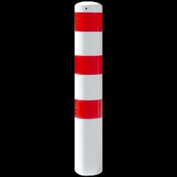 Rampaal Ø193x2000mm met grondmontage, verzinkt of wit/rood Stalen paal, anti kraak, aanrijbeveiliging, Rampaal, Afzetpaal, Ramkraak, Magazijn, Inrichting, Juwelier, Bank, Ramzuil, veilig, ram, Menhir, Beveiliging