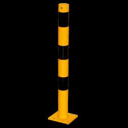 Rampaal Ø76x900mm wegneembaar, geel/zwart Rampaal, Afzetpaal, Ramkraak, Magazijn, Inrichting, Juwelier, Bank, Ramzuil, veilig, ram, Menhir, Beveiliging