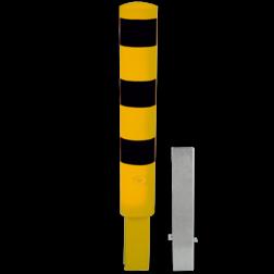 Rampaal Ø152x1000mm wegneembaar met slot - geel/zwart Stalen paal, anti kraak, aanrijbeveiliging, Rampaal, Afzetpaal, Ramkraak, Magazijn, Inrichting, Juwelier, Bank, Ramzuil, veilig, ram, Menhir, Beveiliging