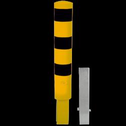 Rampaal Ø193x1000mm wegneembaar met slot - geel/zwart Stalen paal, anti kraak, aanrijbeveiliging, Rampaal, Afzetpaal, Ramkraak, Magazijn, Inrichting, Juwelier, Bank, Ramzuil, veilig, ram, Menhir, Beveiliging