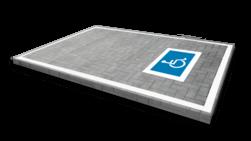 Wegmarkering mindervalide - symbool rolstoel blauw wit wegmarkering, grondmarkering, vloermarkering, vloer, markering, weg, grond, opladen, oplaad, elektrisch, parkeren, wegenverf, thermoplast, groen, blauw, parkeervak, belijning, symbool, pictogram, markeer, terrein, vloer, parkeergarage, garage