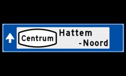 Verwijsbord object (blauw) - met Routepictogram, 2 regel tekst en pijl ANWB, ANWB-bord, verwijsborden, Bewegwijzering, strokenbord, verwijsbord, wegwijsbord, bewegwijzeringsbord, verwijzingsbord