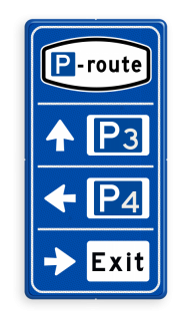 Parkeerroutebord 3 richtingen met aanpasbare pijlen