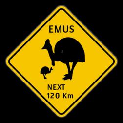 Verkeersbord Australië - Emu