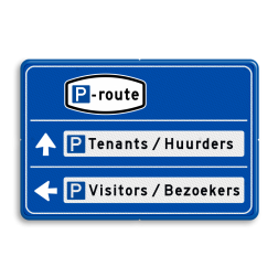 Parkeerroutebord 2 richtingen met tekst pijlen