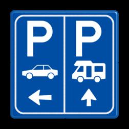 Parkeerbord E8 Camper en auto met aanpasbare pijlen Parkeer, route, verwijzen, auto, camper,