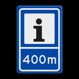 Verkeersbord RVV BW101S104-400 - Informatiepuntverwijzing met afstandsaanduiding informatie, routebord, bord met meteraanduiding, BW101