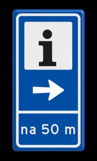 Verkeersbord RVV BW101S104 - Informatiekantoor met aanpasbare pijlrichting en afstandsaanduiding informatie, routebord, bord met pijl, BW101