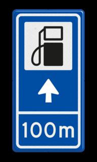 Verkeersbord RVV BW101Sp10 - Pompstation met aanpasbare pijlrichting en afstandsaanduiding Pomp, diesel, benzine, pompstation, tanken