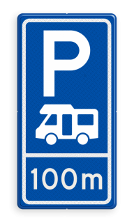 Parkeerroutebord E8n camper met aanpasbare afstandsaanduiding camper, parkeerplaats, parkeerplek, rustplaats, camping, E8n, E08n, camperbus, kampeerplaats, camperplaats, camperplek