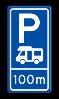 Parkeerroutebord E8n camper met afstandsaanduiding camper, parkeerplaats, parkeerplek, rustplaats, camping, E8n, E08n, camperbus, kampeerplaats, camperplaats, camperplek