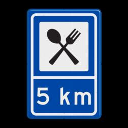 Routebord BW101 (blauw) - 1 pictogram met afstand BEW101, restaurant, mes en vork, pijlbord, eten, , eten, Bistro, eetgelegenheid