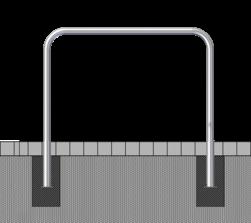 Fietsbeugel staal Ø48mm - 1000x1000mm - in de grond rek, fietsenrek, nietje, beugel,fietsbeugel