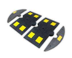 Verkeersdrempel rubber < 20km/u - middenstuk - 800x400x50mm - geel/zwart snelheidsremmer, speedbump, drempel, verkeersdrempel