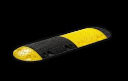 Kunststof verkeersdrempel 20km/h - middenelement 500x430x50mm geel/zwart punaise, snelheidsremmer, speedbump, speed reduction ramp, drempel, verkeersdrempel, drempels