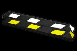 Parkeerstop rubber 1200x150x100mm - reflecterend geel of wit varkensrug, parkeerplaatsstopper, drempel, biggerug, biggenruggen, einde parkeerplaats, parkeerstop, wielstop