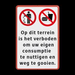 Verkeersbord verboden te eten en drinken - afval weggooien Verbod, Verbodsbord, niet eten, niet drinken, weggooien, afval,