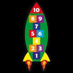 Thermoplast markering - Hinkelbaan raket - 2800x1200mm Wegmarkering, thermoplast, premark, schoolterrein, schoolplein, playmark, topmark, speelterrein, speelzaal